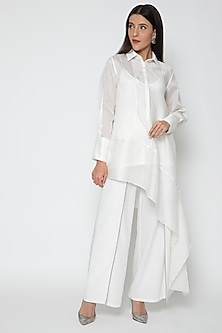 White Uneven Hemline Top by Amit Aggarwal