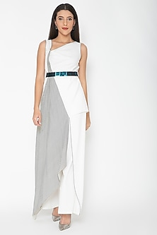 White Sleeveless Draped Top by Amit Aggarwal