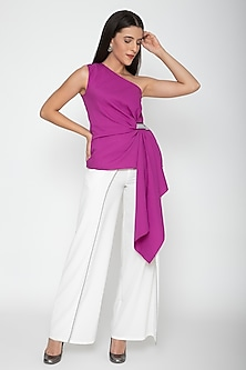 Fuchsia Sleeveless Draped Top by Amit Aggarwal