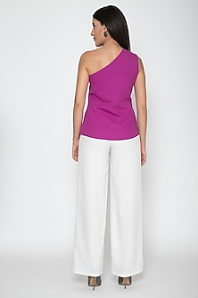 White Polyester Layered Pants by Amit Aggarwal