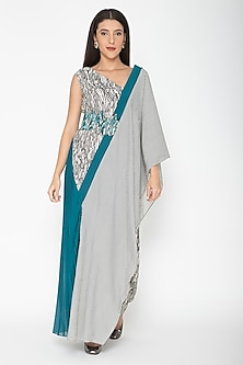 Turquoise Printed Draped Dress by Amit Aggarwal