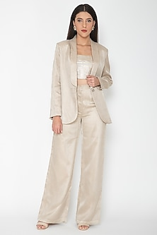 Gold Striped Polyester Pantsuit by Amit Aggarwal