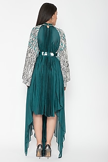 Turquoise Draped Kaftan Dress by Amit Aggarwal
