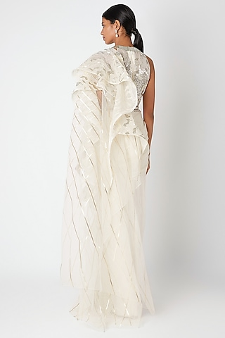 White Embroidered Ombre Draped Saree Set by Amit Aggarwal