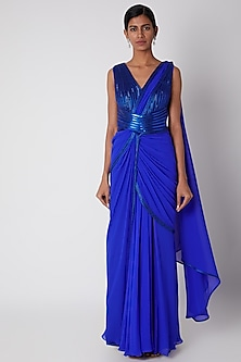 Cobalt Blue Embroidered Pre-Stitched Saree by Amit Aggarwal