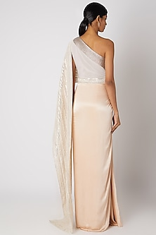 Blush Pink Embroidered Pre-Stitched Saree by Amit Aggarwal