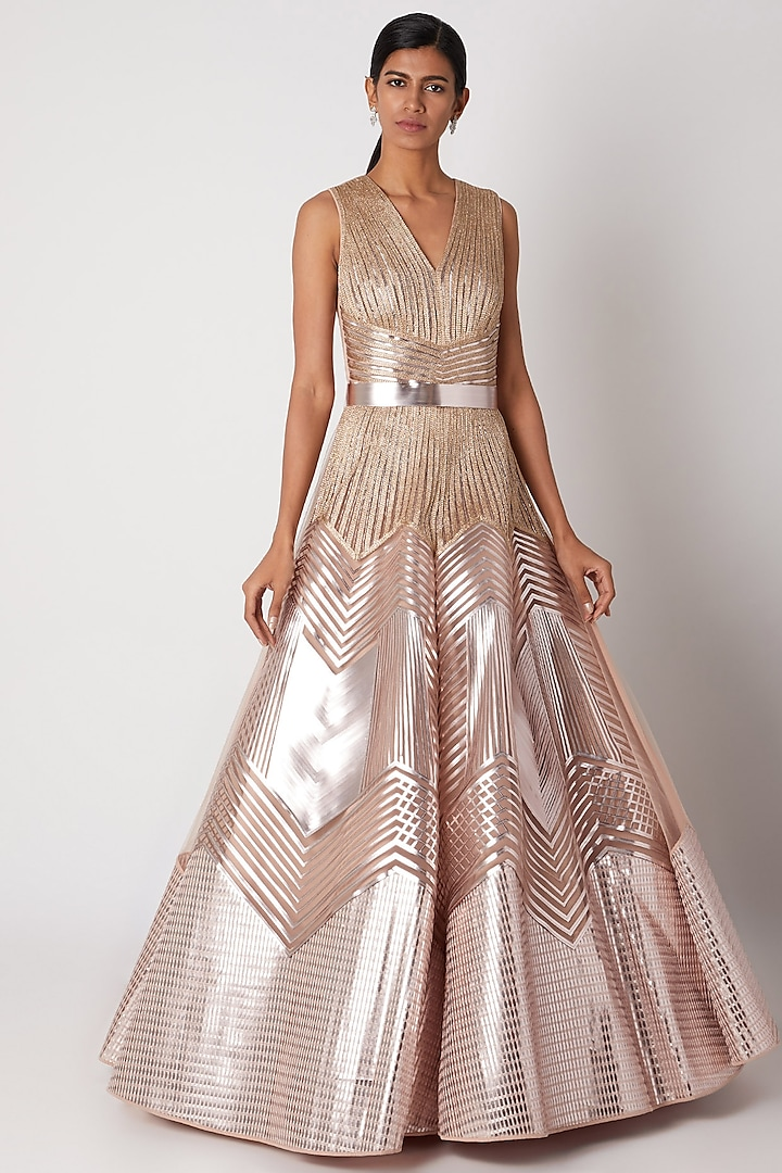 Blush Pink Embroidered Ombre Gown by Amit Aggarwal