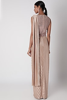 Blush Pink Embroidered Pre-Stitched Saree With Belt by Amit Aggarwal