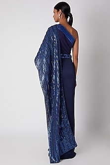 Cobalt Blue Embroidered Ombre Pre-Stitched Saree by Amit Aggarwal