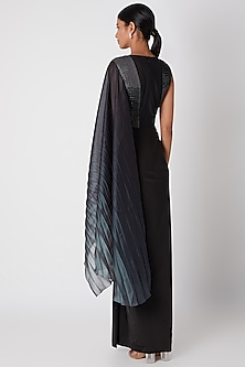 Grey Ombre Embroidered Pre-Stitched Saree by Amit Aggarwal