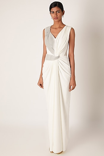 White Embroidered Draped Gown by Amit Aggarwal