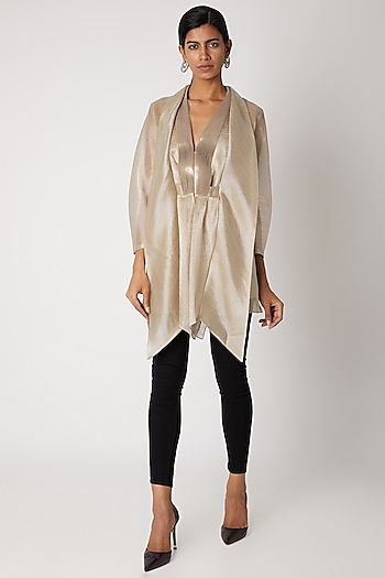 Gold Embroidered Draped Top by Amit Aggarwal
