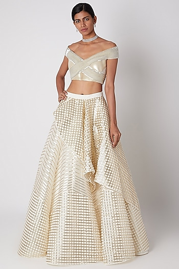 Ivory Embroidered Lehenga With Blouse by Amit Aggarwal