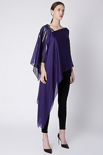 Cobalt Blue Embroidered Top by Amit Aggarwal