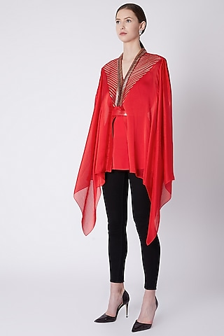 Red Top With Embroidery by Amit Aggarwal