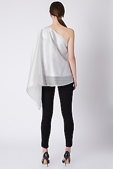 Silver Draped Embroidered Top by Amit Aggarwal