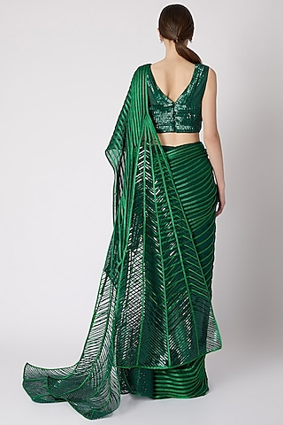 Emerald Green Embroidered Pre-Stitched Saree by Amit Aggarwal