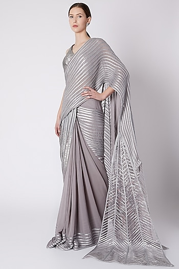 Silver Embroidered Pre-Stitched Saree by Amit Aggarwal