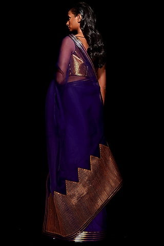 Purple & Gold Metallic Saree Set by Amit Aggarwal