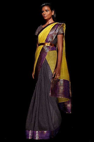 Yellow & Pewter Grey Metallic Saree Set by Amit Aggarwal