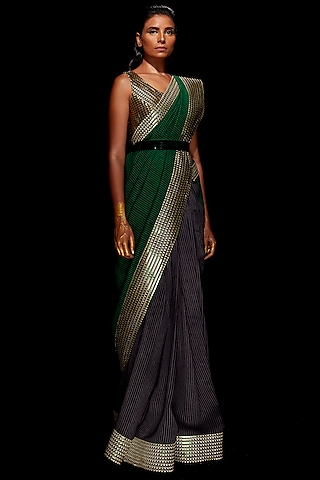 Emerald Green & Pewter Grey Metallic Saree Set by Amit Aggarwal