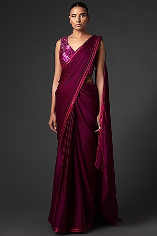Plum Metallic & Embroidered Saree Set by Amit Aggarwal