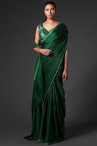Emerald Green Embroidered Saree Set by Amit Aggarwal