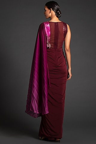 Plum Ombre Pre-Stitched Saree by Amit Aggarwal