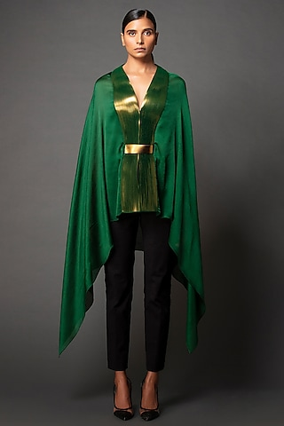 Emerald Green Draped Cape Set by Amit Aggarwal