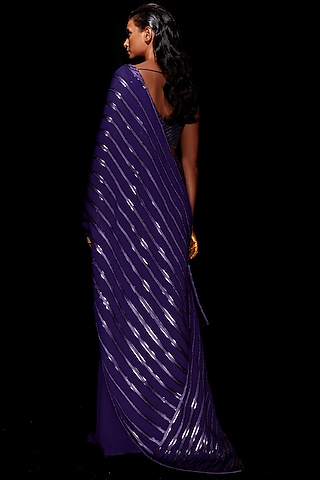 Purple Metallic Pre-Stitched Saree Set by Amit Aggarwal