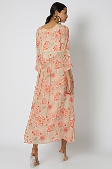 Peach Embellished & Floral Printed Dress by Archana Shah