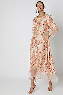 Peach Embellished & Floral Printed Tunic by Archana Shah