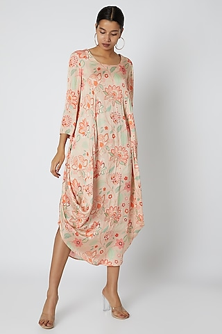 Peach Embellished & Floral Printed Cowl Dress by Archana Shah