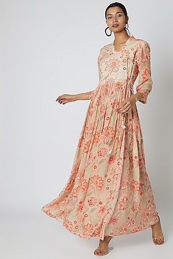 Peach Embellished & Floral Printed Anarkali by Archana Shah
