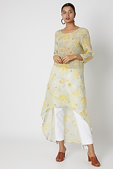 Sky Blue Embellished & Printed Asymmetric Dress by Archana Shah