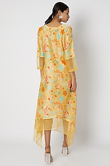 Yellow Embellished Tunic With Floral Print by Archana Shah