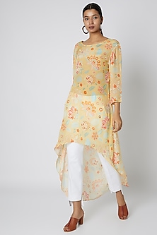 Yellow Asymmetric Floral Printed Tunic by Archana Shah