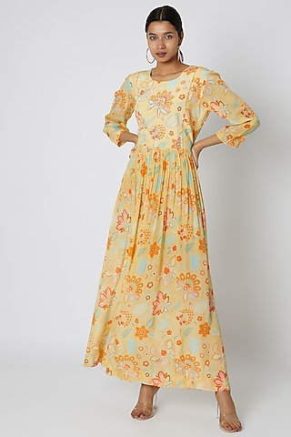 Yellow Floral Printed & Embellished Maxi Dress by Archana Shah