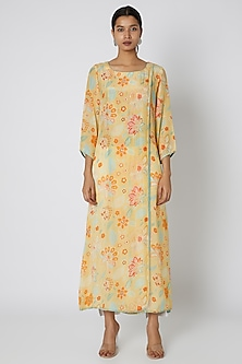 Yellow Sequins & Floral Printed Overlap Tunic by Archana Shah