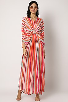 Orange Printed Striped Kaftan by Archana Shah -POPULAR PRODUCTS AT STORE