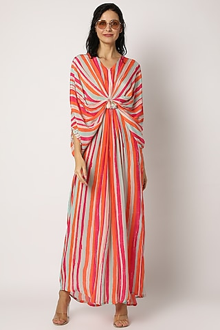 Orange Printed Striped Kaftan by Archana Shah