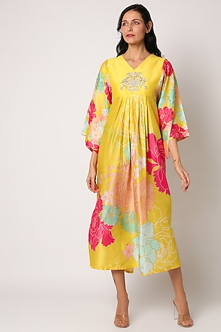 Yellow Printed & Embroidered Maxi Dress by Archana Shah