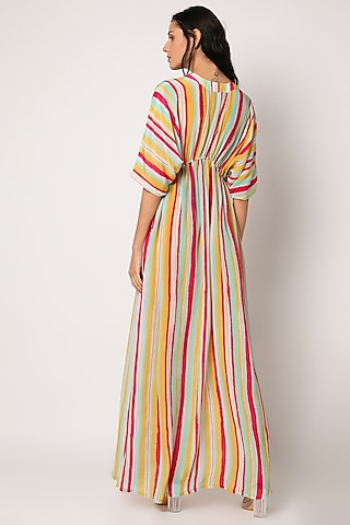 Yellow Printed Striped Kimono Kaftan by Archana Shah