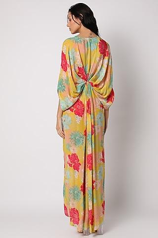 Yellow Printed & Embroidered Kaftan Dress by Archana Shah