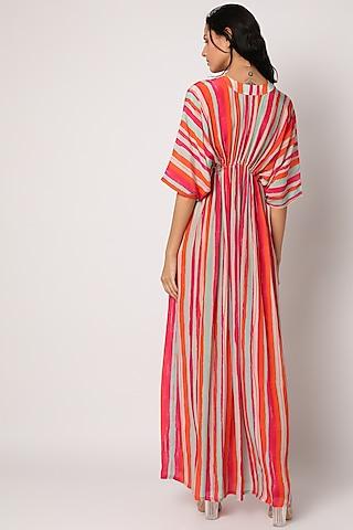 Orange Printed Kimono Kaftan by Archana Shah