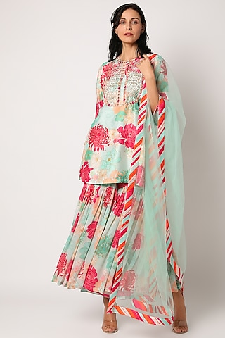 Sky Blue Floral Printed Sharara Set by Archana Shah