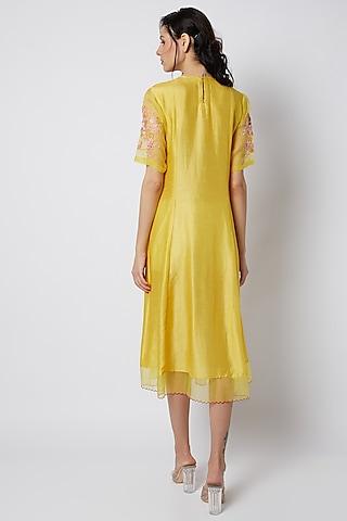 Yellow Printed Dress by Archana Shah