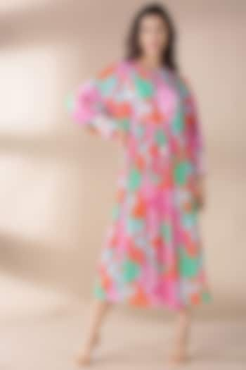 Pink Embroidered & Printed Kaftan by Archana Shah