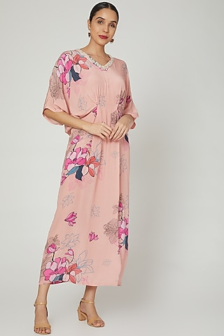 Peach Floral Printed Kaftan by Archana Shah