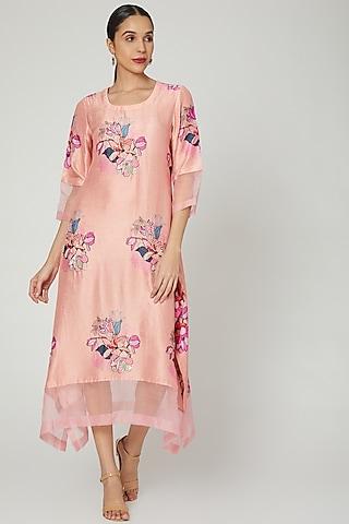 Peach Printed Bemberg Silk Tunic by Archana Shah